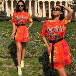 Rochie scurta de zi portocalie cu imprimeu Vogue