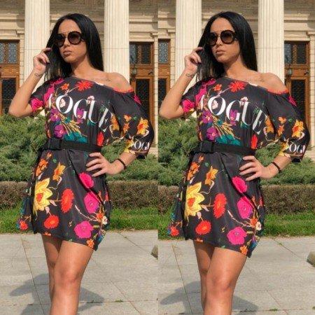 Rochie scurta de zi neagra cu imprimeu Vogue