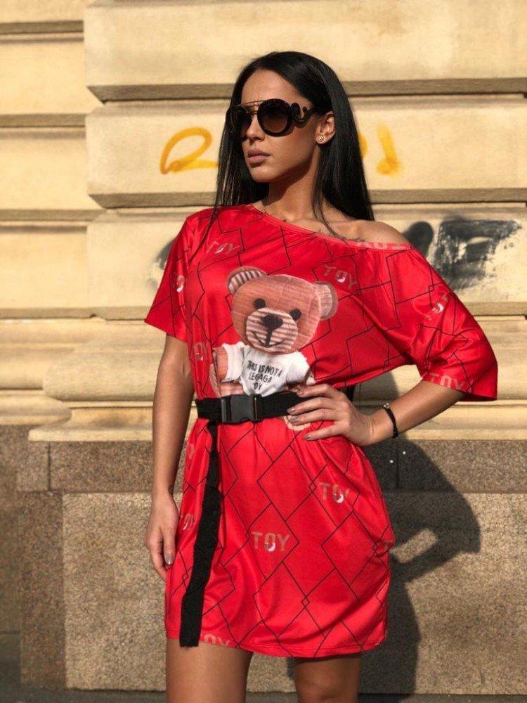 Rochie scurta de zi rosie cu imprimeu ursulet
