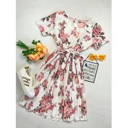 Rochie lunga alba de vara cu imprimeu floral si cordon