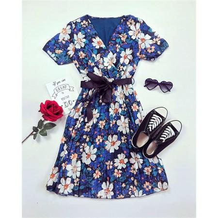 Rochie de zi scurta eleganta cu imprimeu floral si cordon