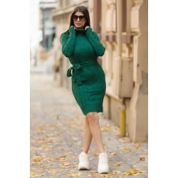 Rochie verde scurta din tricot cu decupaj  pentru iarna