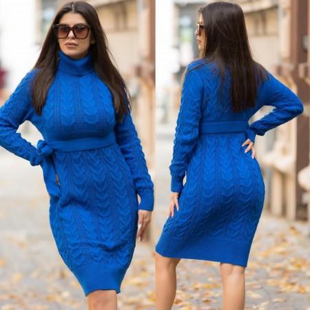 Rochie albastra scurta cu cordon din tricot pentru iarna