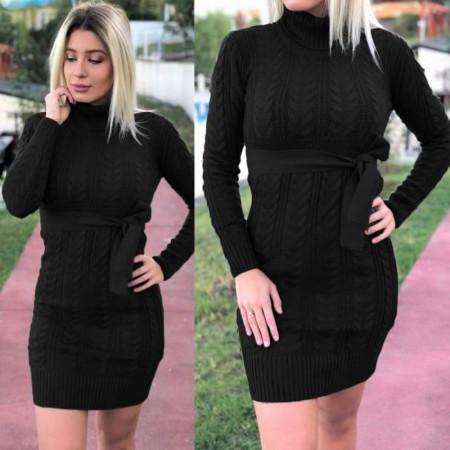 Rochie neagra scurta cu cordon din tricot pentru iarna