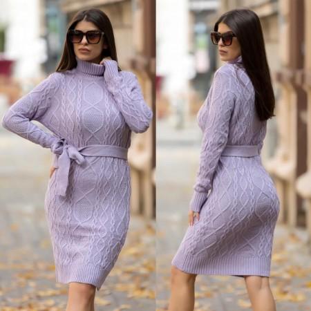 Rochie mov lavanda scurta din tricot pentru iarna cu cordon