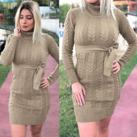 Rochie bej scurta din tricot pentru iarna