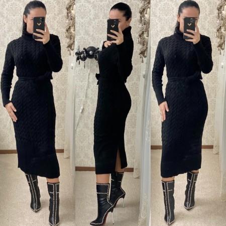 Rochie tricotata dama neagra lunga pe gat cu cordon inclus