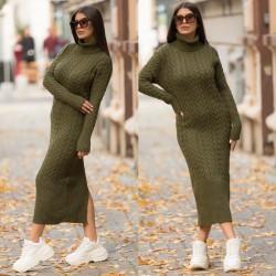 Rochie tricotata dama kaki lunga pe gat cu cordon inclus