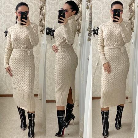 Rochie tricotata dama crem lunga pe gat cu cordon inclus