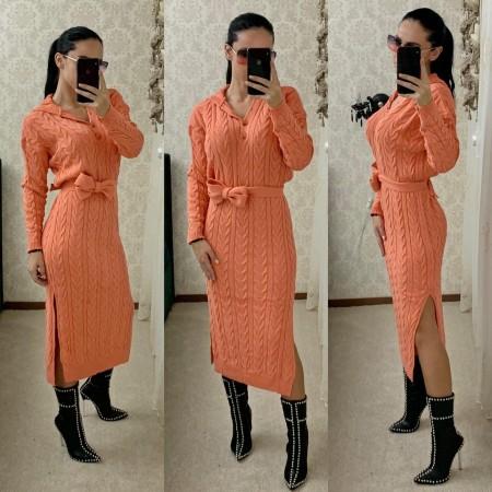 Rochie tricotata dama corai lunga cu gluga si cordon inclus