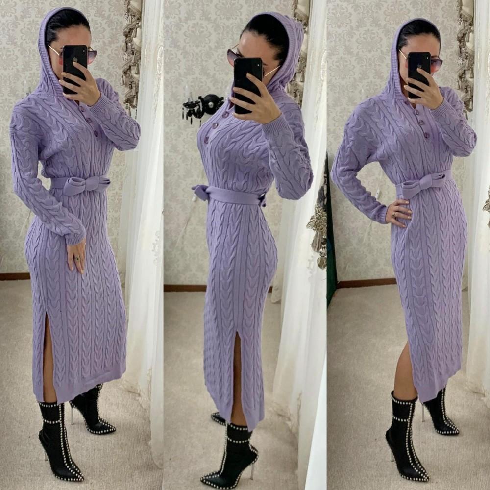 Rochie tricotata dama mov lunga cu gluga si cordon inclus