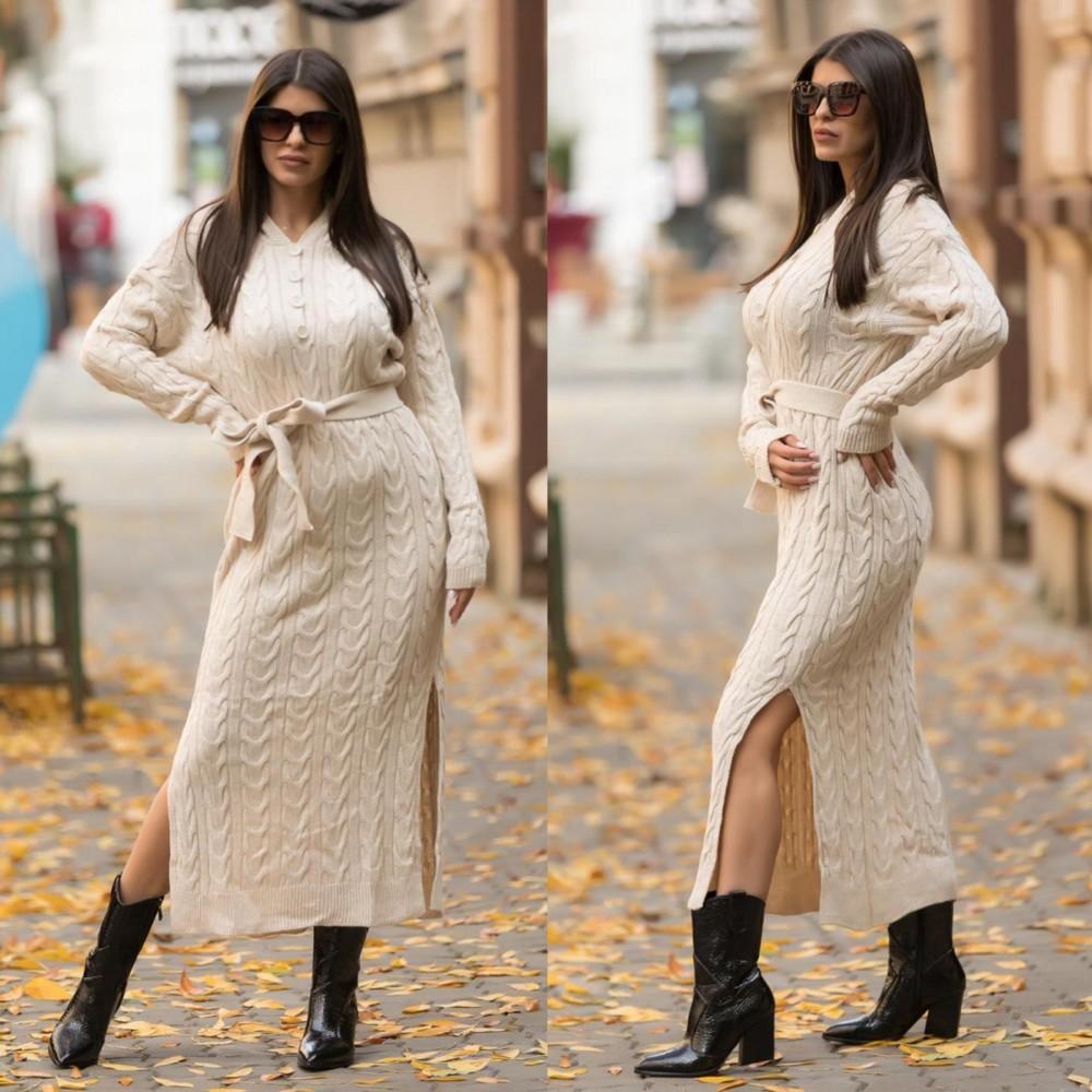 Rochie tricotata dama crem lunga cu gluga si cordon inclus