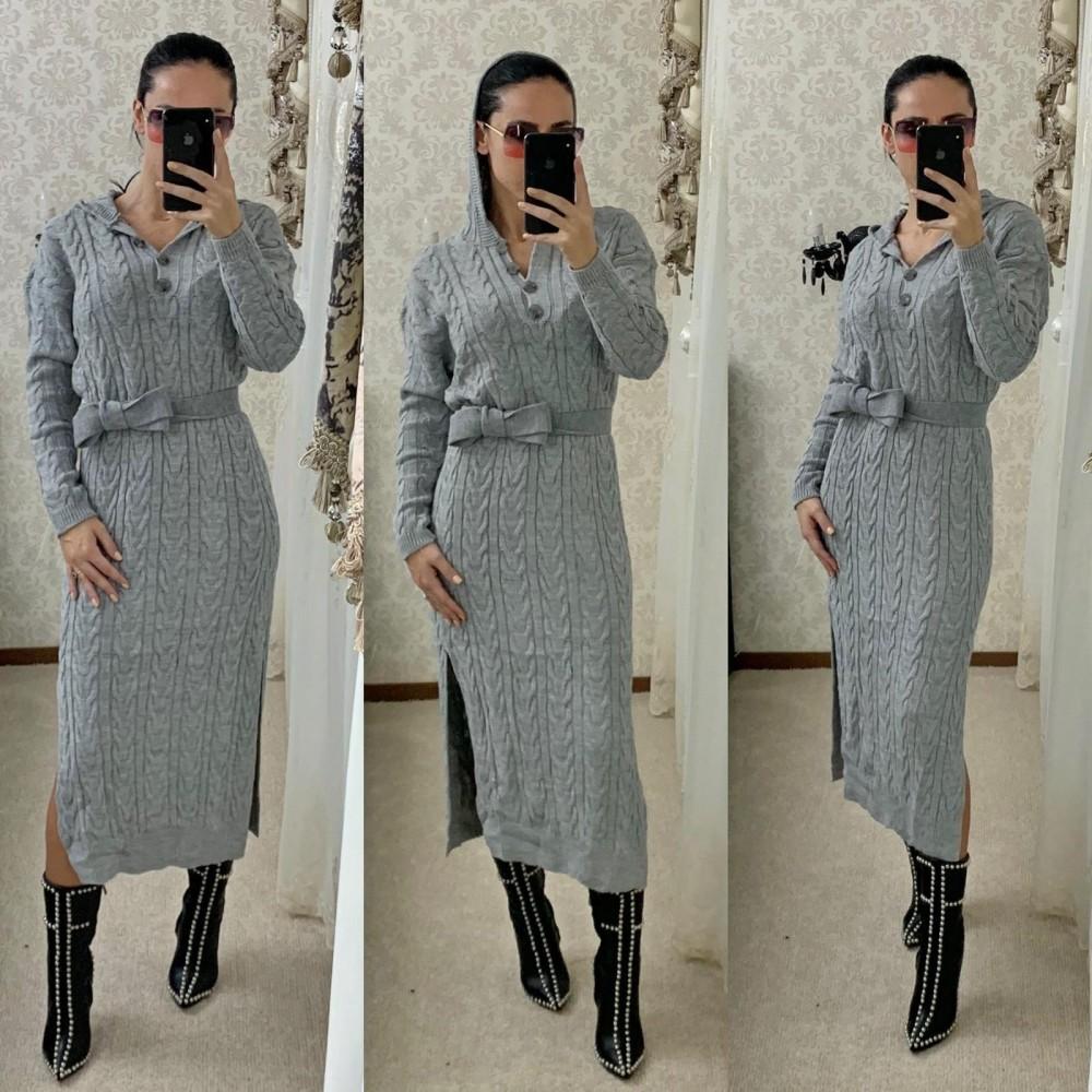 Rochie tricotata dama gri lunga cu gluga si cordon inclus