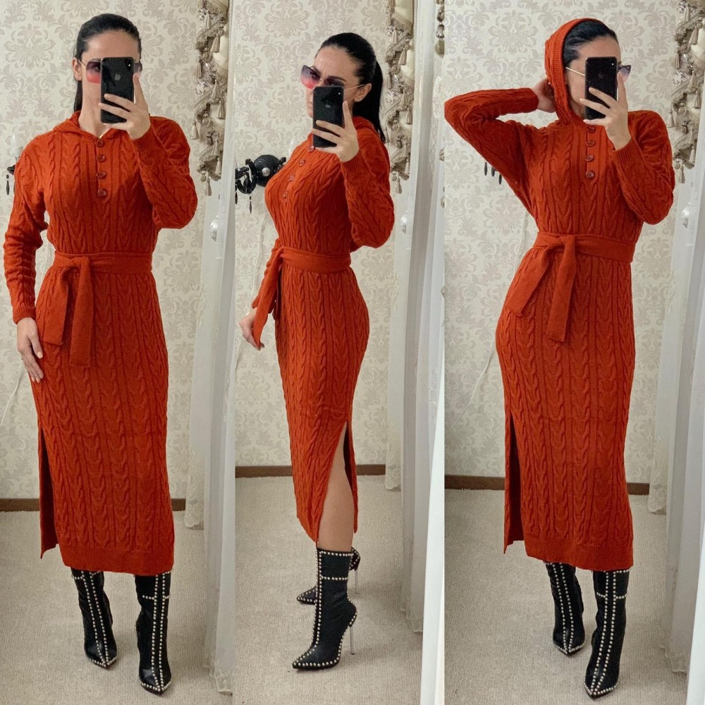 Rochie tricotata dama caramizie lunga cu gluga si cordon inclus