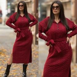 Rochie tricotata dama visinie lunga cu gluga si cordon inclus