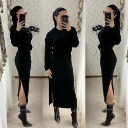 Rochie tricotata dama neagra lunga cu gluga si cordon inclus