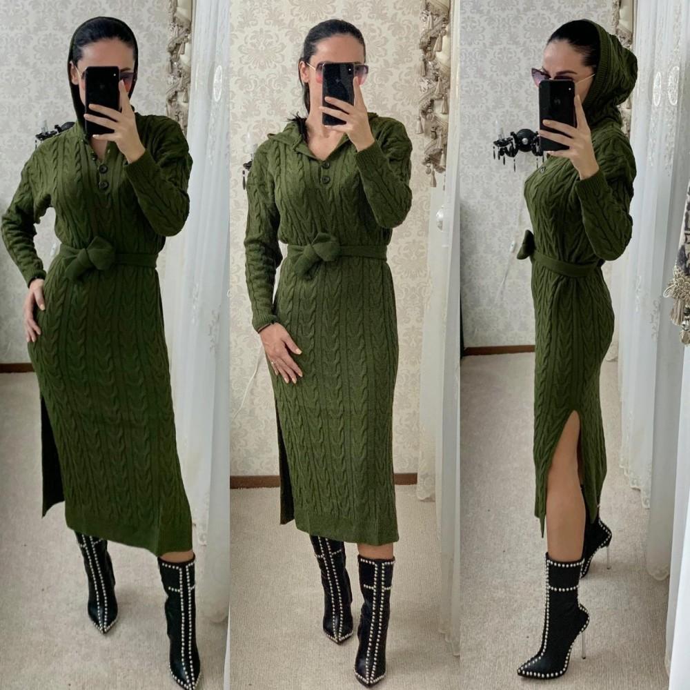Rochie tricotata dama kaki lunga cu gluga si cordon inclus