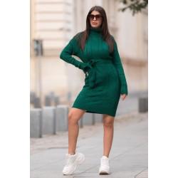 Rochie verde scurta din tricot pentru iarna cu cordon