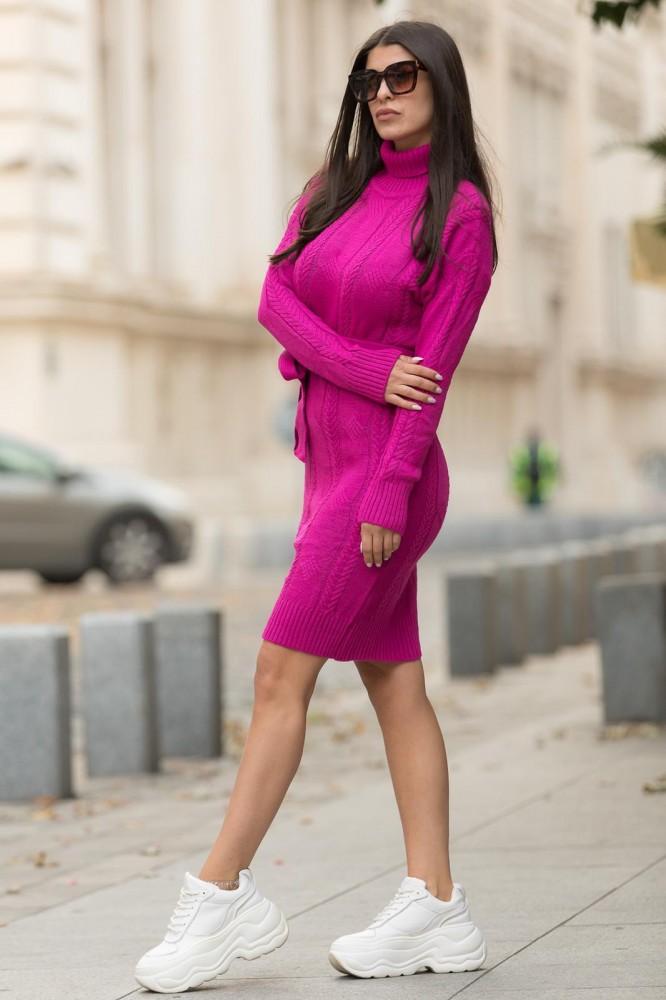 Rochie fuchsia midi din tricot pentru iarna cu cordon