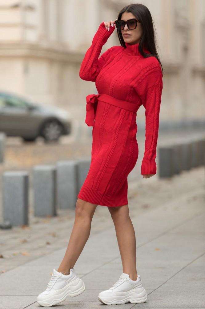 Rochie rosie scurta din tricot pentru iarna cu cordon