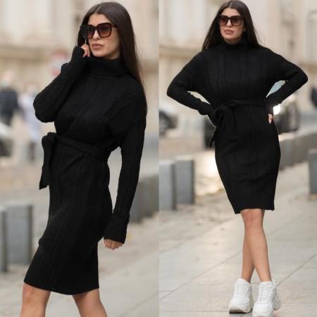 Rochie neagra midi din tricot pentru iarna cu cordon