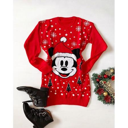 Rochie rosie pentru sarbatoare cu imprimeu Mickey Mouse