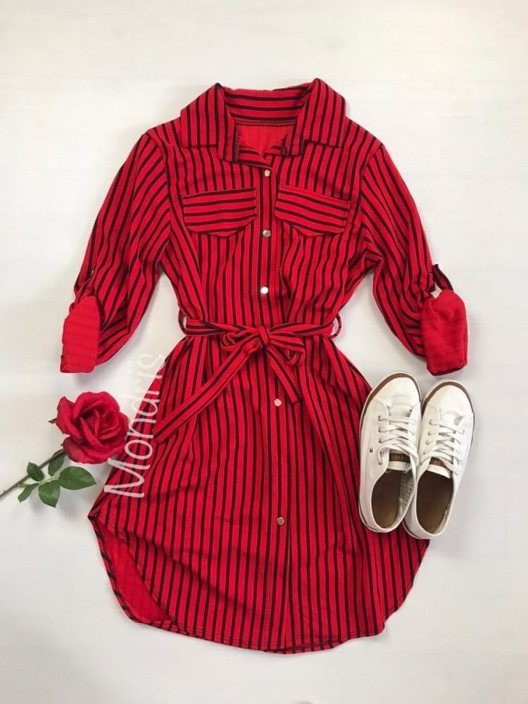Rochie scurta de zi rosie cu imprimeu dungi si cordon