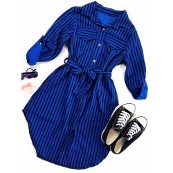 Rochie scurta de zi albastra cu imprimeu dungi si cordon