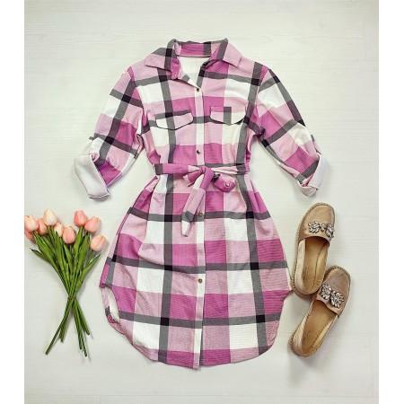Rochie scurta de zi roz in carouri stil camasa cu cordon
