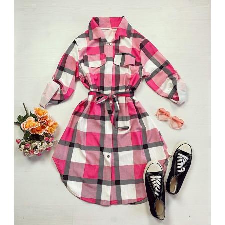 Rochie scurta de zi roz aprins in carouri stil camasa