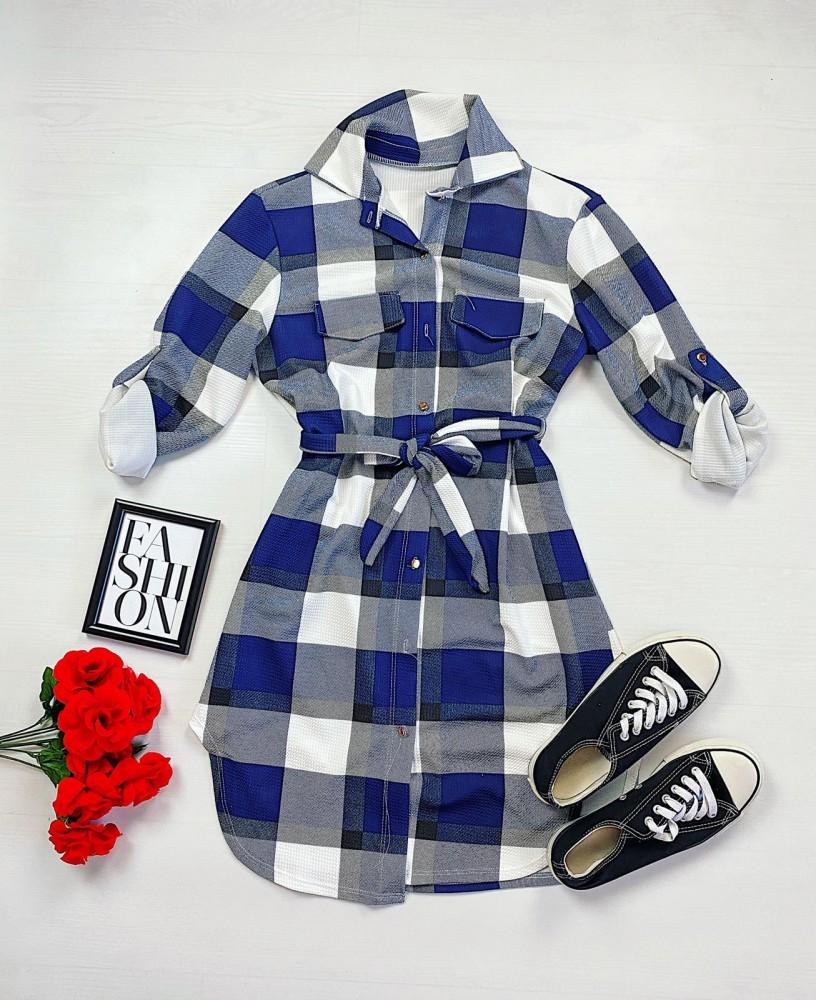 Rochie scurta de zi albastra in carouri stil camasa