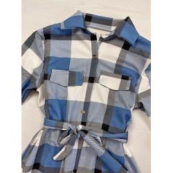 Rochie scurta de zi bleu in carouri stil camasa
