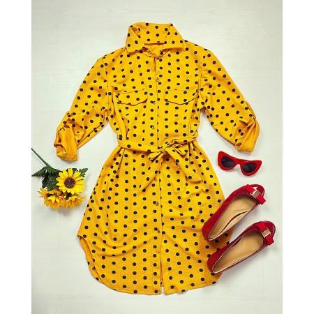 Rochie scurta de zi galben cu imprimeu buline si cordon