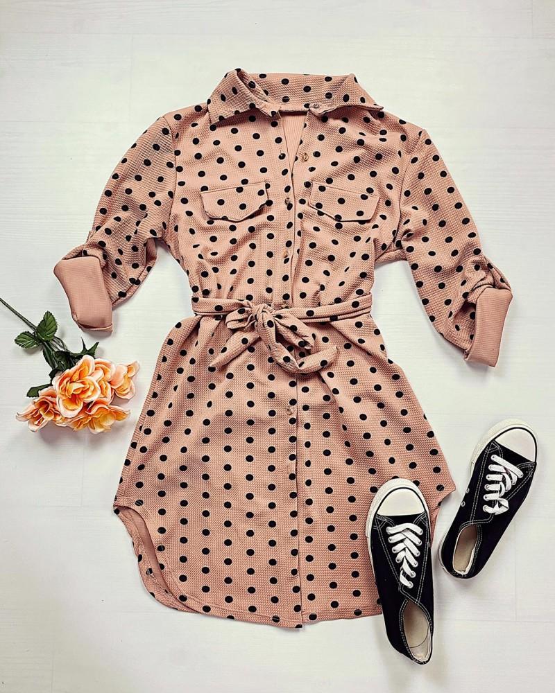 Rochie scurta de zi roz cu imprimeu buline si cordon