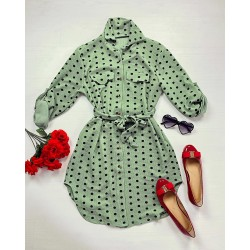 Rochie scurta de zi verde cu imprimeu buline si cordon