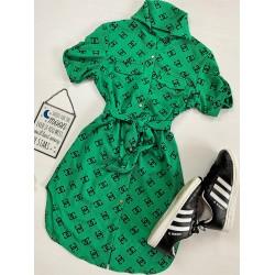 Rochie casual scurta verde cu imprimeu