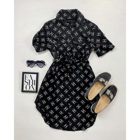 Rochie casual scurta neagra cu imprimeu