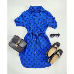 Rochie casual scurta albastra de zi cu cordon