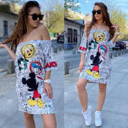 Rochie scurta de vara alba cu imprimeu Mickey
