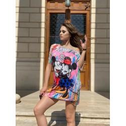 Rochie scurta de vara multicolora cu imprimeu M&M