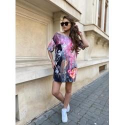 Rochie scurta de vara multicolora cu imprimeu Pantera