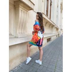 Rochie scurta de vara multicolora cu imprimeu Cool
