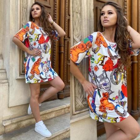 Rochie scurta de vara multicolora cu imprimeu Fashion