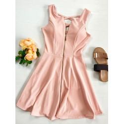 Rochie scurta roz eleganta in forma cloche