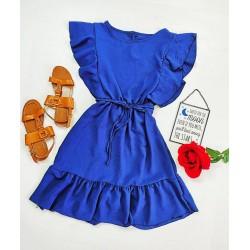 Rochie scurta albastra de vara cu volanas