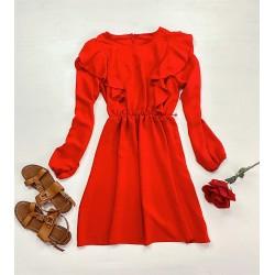 Rochie scurta rosie cu maneca lunga si volanase