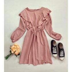 Rochie scurta roz cu maneca lunga si volanase