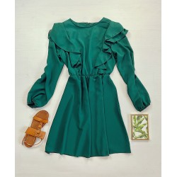 Rochie scurta verde cu maneca lunga si volanase