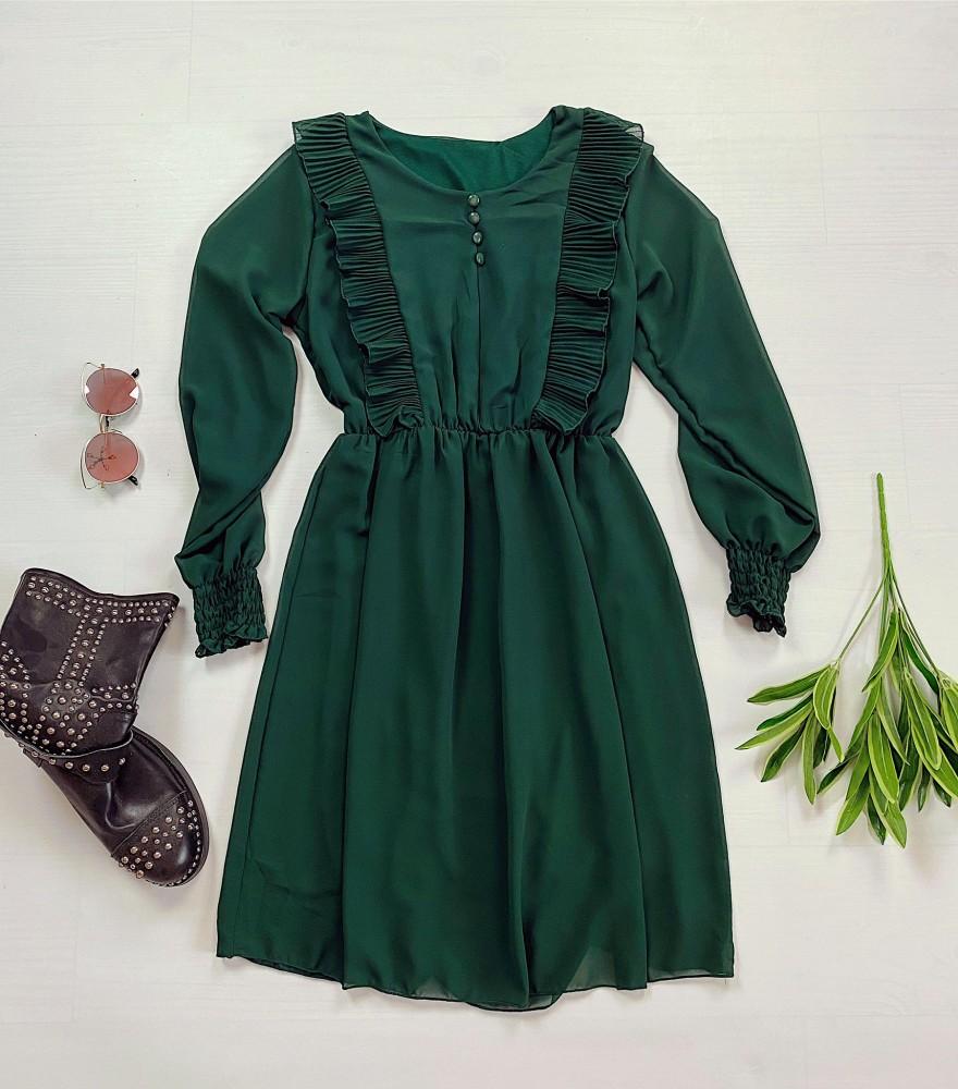 Rochie scurta verde  cu volanase crete si nasturi