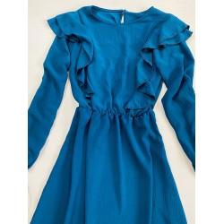 Rochie scurta albastra cu maneca lunga si volanase